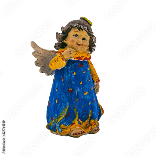 Christmas toy in the form of an angel on a white background.
