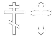 Set Of Orthodox Crosses. Outline. Vector.