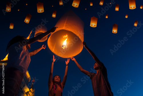 Fotografie, Obraz  People floating lamp in Yi Peng festival in Chiangmai Thailand