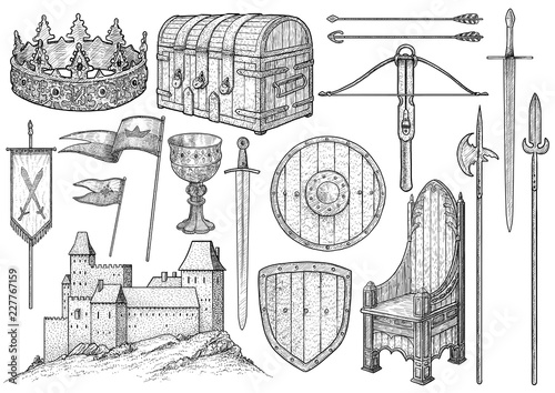 Fototapeta Medieval object, collection, illustration, drawing, engraving, ink, line art, ve