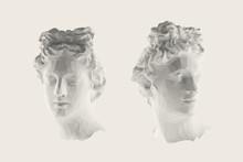 White Greek Apollo Head Vector...