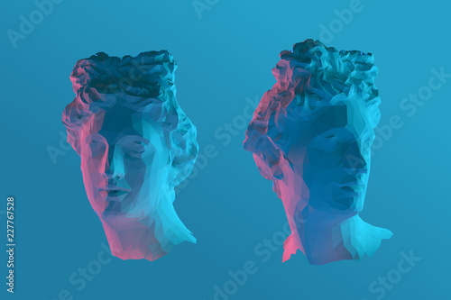 Fotografia Cool Greek Apollo Head Vector 3D Rendering