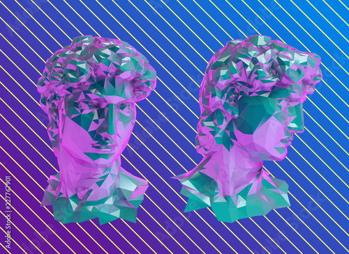 Vaporwave David Sculpture Head Vector 3D Rendering - Buy
