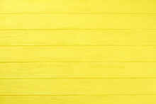 Yellow Wooden Boards Background. Colored Horizontal Planks Background. Natural Wooden Background For Banner.