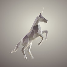 Poly White Unicorn Vector 3D R...