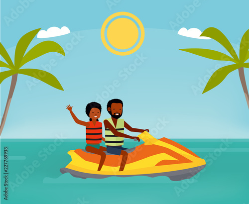 Happy Couple Rides A Jet Ski Active Travel Concept Cartoon Flat Style Illustration African American People Buy This Stock Illustration And Explore Similar Illustrations At Adobe Stock Adobe Stock