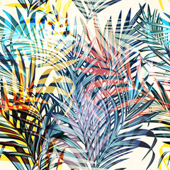 Fototapeta Colorful vector tropical palm leaves, vacation style. Ideal for fabric patterns
