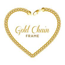 Gold Chain Heart Love Border F...