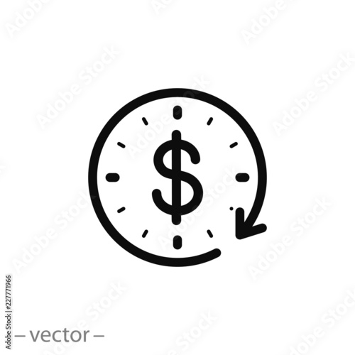 Fotomural time is money icon, dollar with clock linear sign isolated on white background -