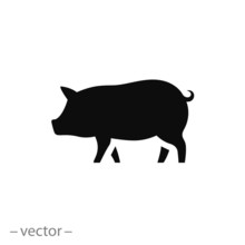 Pig Icon, Piggy Silhouette Isolated On White Background - Editable Vector Illustration Eps10