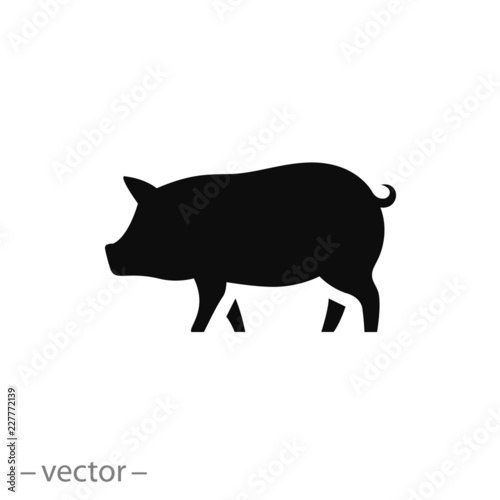Foto pig icon, piggy silhouette isolated on white background - editable vector illust