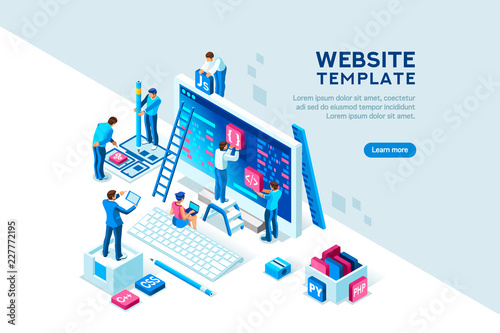 Project team of engineers for website create. Characters on a concept. Programming software coding and development, template for programmer or designer. Flat isometric concept. Vector illustration.