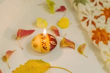 Fall Mood Flat Lay. Candle, Oa...