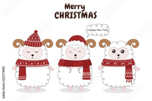 Printed kitchen splashbacks Illustrations Cute sheep are celebrating Christmas.