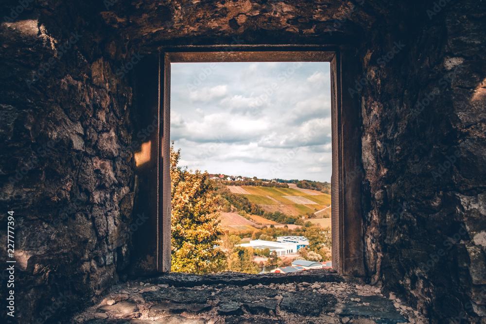Widok z okna zamku na polu