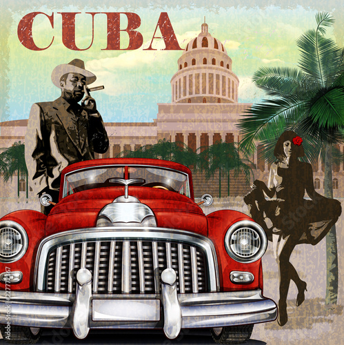 Photo Cuba retro poster.