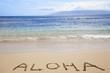 word written in sand on beach