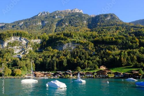 Photo Stands Iseltwald near Interlaken, Berner Oberland, Switzerland