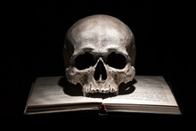 Human Skull On Old Open Book O...