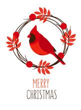 Merry Christmas Card With Leav...