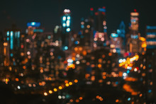 Blurred Bokeh Chicago Abstract Cityscape Skyline At Night