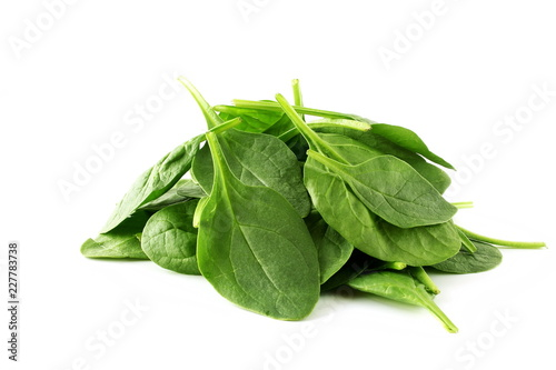 green spinach leaves isolated closeup on white background