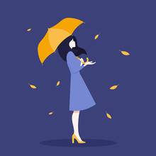 A Woman In Full Growth Standing Under An Umbrella. Profile Of A Girl. Autumn. Vector Flat Illustration
