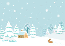 Winter Landscape With Rabbit.