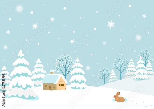 Foto op Canvas Lichtblauw Winter landscape with rabbit.