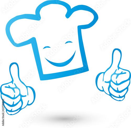 Kochmütze mit Händen und Lächeln, Koch, Becker, Logo Wallpaper Mural