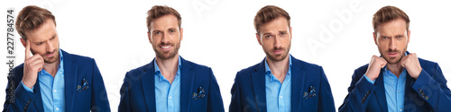 4 different faces of an elegant young man Canvas Print