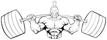 Line Art Illustration Of Strong Spartan Warrior Doing Squats With A Barbell On White Background.