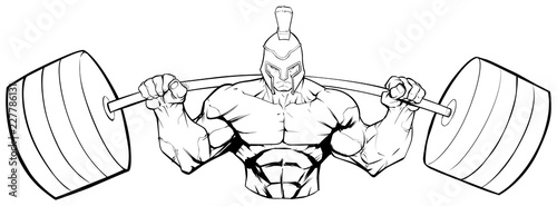 Foto  Line art illustration of strong Spartan warrior doing squats with a barbell on white background