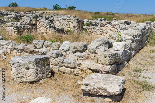 Foto op Canvas Rudnes The ruins of the ancient city. Russia, the Republic of Crimea, the city of Sevastopol. 11.06.2018: The ruins of the ancient and medieval city of Chersonese Tauride