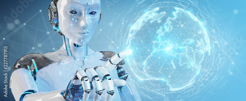 White robot woman using digital sphere connection hologram 3D rendering
