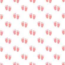 Vector Semaless Pattern Of Baby Pink Footprints.