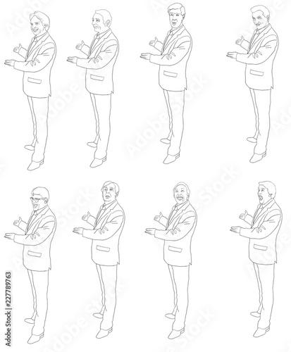 Trace Expression Homme En Costume Cravate Invitation Figure