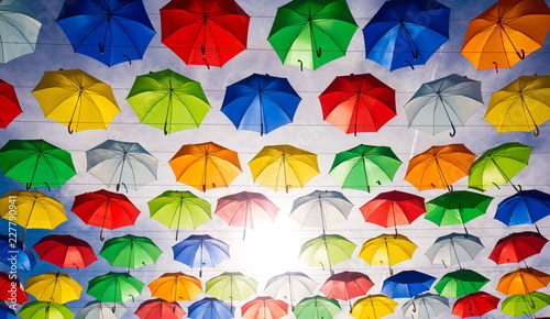 City. Colorful umbrellas