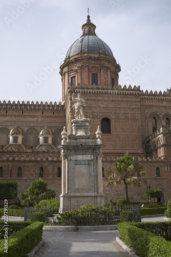 Garden Poster Palermo, Italy - September 07, 2018 : View of Santa Rosalia statue in front of Palermo cathedral
