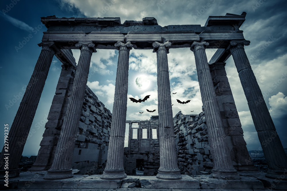 Fototapety, obrazy: Erechtheion temple on Halloween in full moon, Athens, Greece
