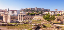 Panoramic View Of The Library Of Hadrian, Athens, Greece