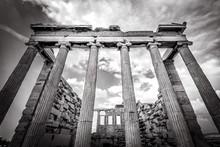 Ancient Greek Erechtheion Temple On Acropolis, Athens, Greece. BW Photo.