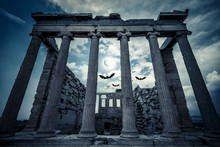 Fantasy View Of Haunted Greek Temple On Halloween In Full Moon, Athens, Greece
