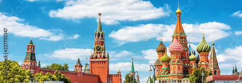 Poster Moscow Panoramic view of Moscow Kremlin and St Basil's Cathedral in Moscow
