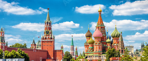 Photo Moscow Kremlin and St Basil's cathedral, beautiful panoramic view of Moscow cent