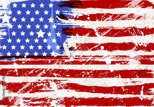 Grunge USA flag, distressed stars and stripes, vector illustration