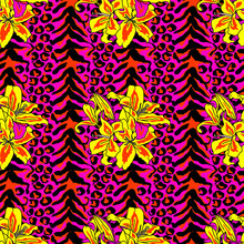 Brush Painted Tiger Seamless Pattern. Pink Leopard Spots And Yellow Lilly Background.