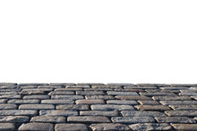 Old Stone Road Isolated On White Background, For Display Or Montage Your Products. Clipping Path Included.