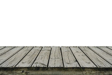 Old Wood Deck Isolated On Whit...