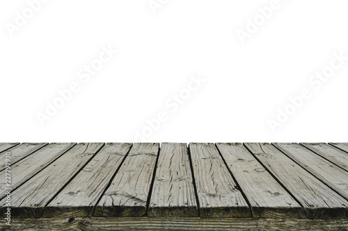 Canvas Print Old wood deck isolated on white background, for display or montage your products